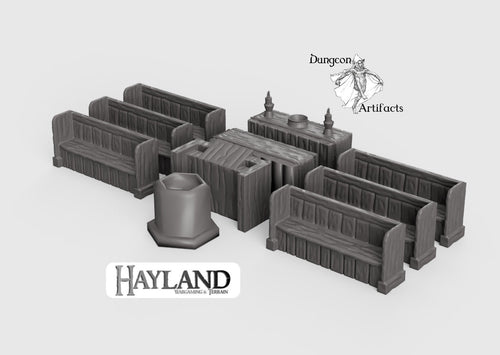 Church Furniture Set 28mm 32mm Wargaming Terrain D&D, DnD, Pathfinder, SW Legion, Warhammer