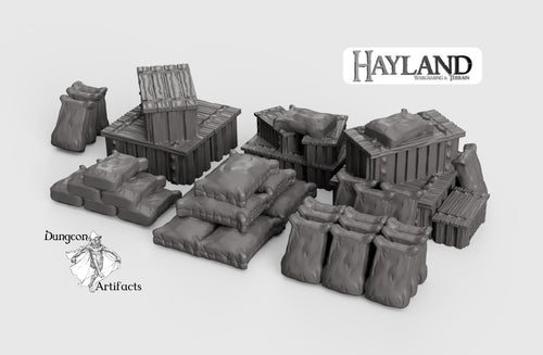 Crates and Sacks Set 15mm 28mm 32mm Wargaming Terrain D&D, DnD, Pathfinder, SW Legion, Warhammer