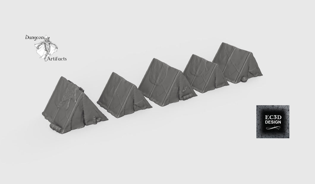 Tent Set - 28mm 32mm Hero's Hoard Wargaming Tabletop Scatter Miniatures Terrain D&D, DnD, Pathfinder, SW Legion, Warhammer