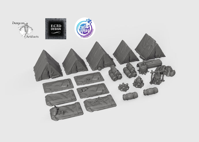 Ultimate RPG Camp Set - 28mm 32mm Cast N Play Hero's Hoard Wargaming Tabletop Scatter Miniatures Terrain D&D, DnD, Pathfinder, Warhammer