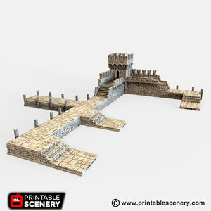 Port Winterdale Dock with Bastion Set 28mm 32mm Lost Islands Wargaming Terrain D&D, DnD, Pathfinder, SW Legion, Warhammer, 40k