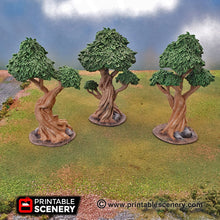 Load image into Gallery viewer, Clorehaven and the Goblin Grotto - Gnarly Trees with Canopies 15mm 28mm 32mm Wargaming Terrain D&D, DnD, Pathfinder, SW Legion Warhammer 40k