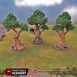 Clorehaven and the Goblin Grotto - Gnarly Trees with Canopies 15mm 28mm 32mm Wargaming Terrain D&D, DnD, Pathfinder, SW Legion Warhammer 40k