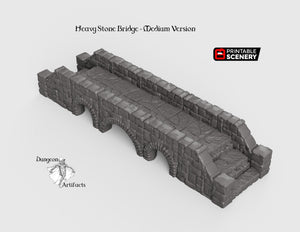Heavy Stone Bridge - 28mm 32mm Clorehaven and the Goblin Grotto, Wargaming Terrain D&D, DnD, Pathfinder SW Legion Warhammer 40k Sigmar