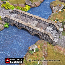 Load image into Gallery viewer, Heavy Stone Bridge - 28mm 32mm Clorehaven and the Goblin Grotto, Wargaming Terrain D&D, DnD, Pathfinder SW Legion Warhammer 40k Sigmar