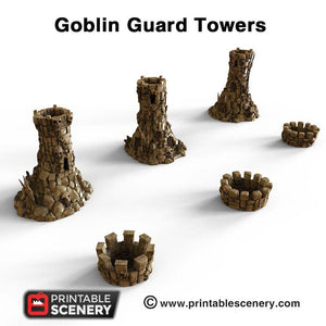 Goblin Guard Towers - 15mm 28mm 32mm Clorehaven and the Goblin Grotto Wargaming Terrain Scatter D&D, DnD, Pathfinder, Warhammer, 40k
