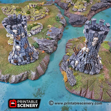 Load image into Gallery viewer, Goblin Guard Towers - 15mm 28mm 32mm Clorehaven and the Goblin Grotto Wargaming Terrain Scatter D&D, DnD, Pathfinder, Warhammer, 40k