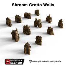 Load image into Gallery viewer, Shroom Grotto Walls - 15mm 28mm Clorehaven and the Goblin Grotto Mushroom Wargaming Terrain Scatter D&D DnD Pathfinder Warhammer 40k