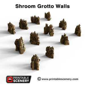 Shroom Grotto Walls - 15mm 28mm Clorehaven and the Goblin Grotto Mushroom Wargaming Terrain Scatter D&D DnD Pathfinder Warhammer 40k