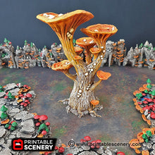 Load image into Gallery viewer, Blooming Lanterns Mushroom Tree Set - 15mm 28mm 32mm Clorehaven and Goblin Grotto Wargaming Terrain Scatter D&D DnD Pathfinder Warhammer 40k