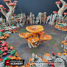 Load image into Gallery viewer, Lantern Clusters Mushroom Set - 28mm 32mm Clorehaven and Goblin Grotto Wargaming Terrain Scatter D&D DnD Pathfinder Warhammer 40k