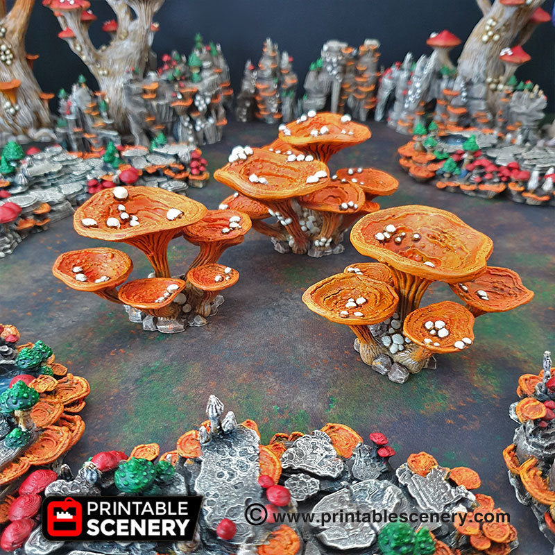 Lantern Clusters Mushroom Set - 28mm 32mm Clorehaven and Goblin Grotto Wargaming Terrain Scatter D&D DnD Pathfinder Warhammer 40k