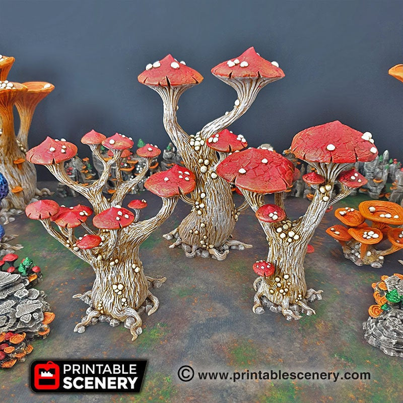 Magic Mushrooms Tree Set - 15mm 28mm 32mm Clorehaven and the Goblin Grotto Wargaming Terrain Scatter D&D DnD Pathfinder Warhammer 40k