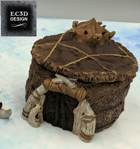 Ice Tribe Basic Hut - 15mm 28mm 32mm Wilds of Wintertide Wargaming Terrain D&D, DnD, Pathfinder, SW Legion, Warhammer