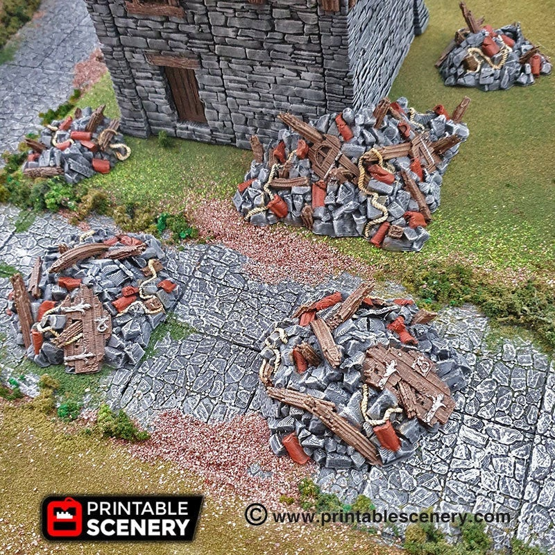 Rubble Set - 15mm 28mm 32mm Clorehaven and the Goblin Grotto Wargaming Tabletop Scatter Terrain D&D, DnD, Pathfinder, Warhammer, 40k