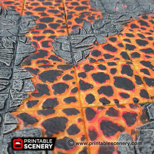 Lava Tile Set - 28mm 32mm Clorehaven and the Goblin Grotto, Wargaming Terrain D&D, DnD, Pathfinder SW Legion Warhammer 40k Sigmar