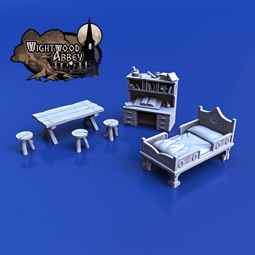 Medieval Bedroom Furnishings 28mm 32mm Wightwood Abbey Wargaming Tabletop Scatter Miniatures Terrain D&D, DnD, Pathfinder, Warhammer 40k
