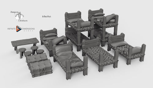 Medieval Dormitory Furnishings 28mm 32mm Wightwood Abbey Wargaming Tabletop Scatter Miniatures Terrain D&D, DnD, Pathfinder, Warhammer 40k