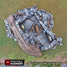 Load image into Gallery viewer, Ruined Boat House - 15mm 28mm 32mm Clorehaven and Goblin Grotto Wargaming Terrain Scatter D&D, DnD, Pathfinder, Warhammer, 40k