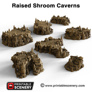 Raised Shroom Caverns - 15mm 28mm 32mm Mushrooms Clorehaven and Goblin Grotto Wargaming Terrain Scatter D&D, DnD, Pathfinder, Warhammer, 40k