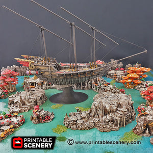 Flying Dhow - 15mm 28mm 32mm Clorehaven and the Goblin Grotto Wargaming Terrain D&D, DnD, Pathfinder, SW Legion, Warhammer, 40k, Pirates