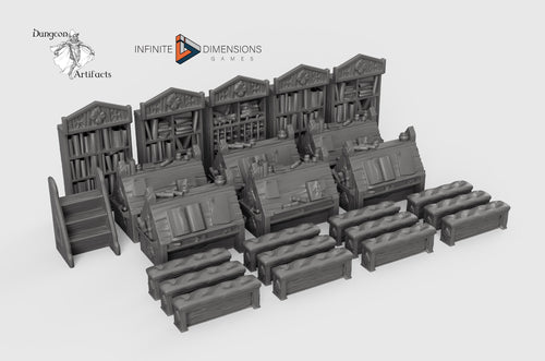 Scriptorium Furnishings Set 28mm 32mm Wightwood Abbey Wargaming Tabletop Scatter Miniatures Terrain D&D, DnD, Pathfinder, Warhammer 40k