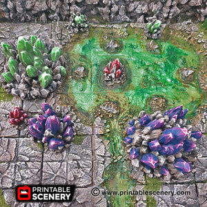 Crystal Clusters - 15mm 28mm 32mm Clorehaven and the Goblin Grotto Wargaming Terrain D&D, DnD, Pathfinder, SW Legion, Warhammer, 40k