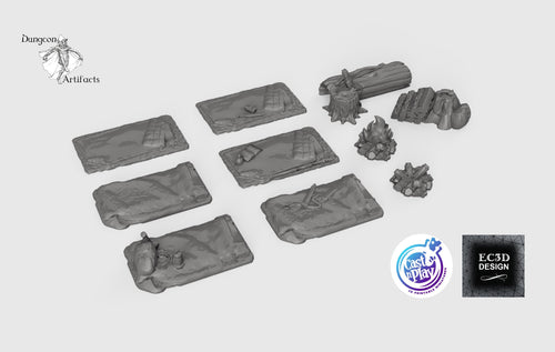 Adventurers' Camp Set - 28mm 32mm Cast N Play Hero's Hoard Wargaming Tabletop Scatter Miniatures Terrain D&D, DnD, Pathfinder, Warhammer