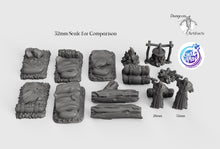 Load image into Gallery viewer, Travelers' Camp Set - 28mm 32mm Cast N Play Wargaming Tabletop Scatter Miniatures Terrain D&D, DnD, Pathfinder, SW Legion, Warhammer