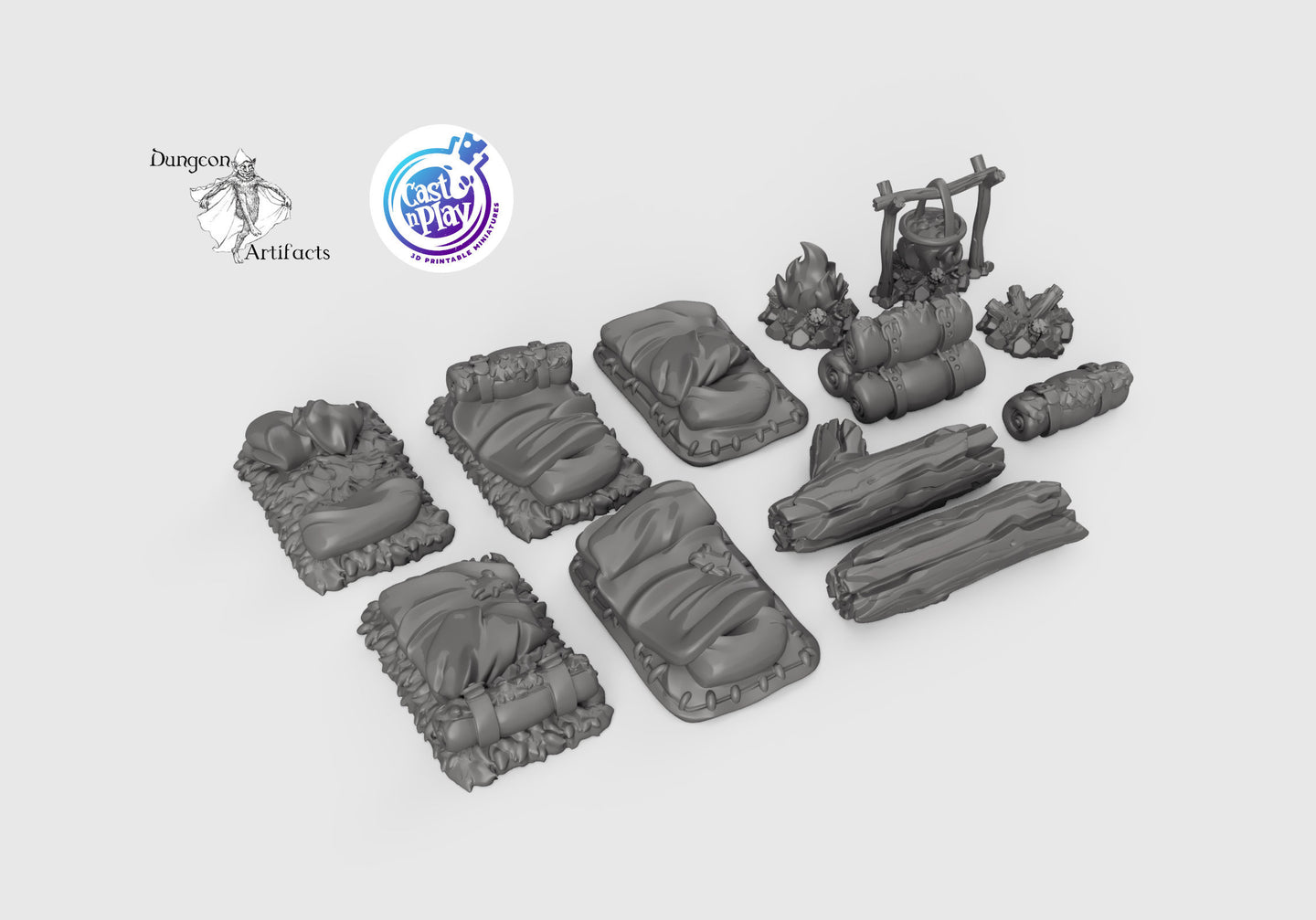 Travelers' Camp Set - 28mm 32mm Cast N Play Wargaming Tabletop Scatter Miniatures Terrain D&D, DnD, Pathfinder, SW Legion, Warhammer