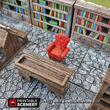 Load image into Gallery viewer, Library Furniture Set - 28mm 32mm Clorehaven and the Goblin Grotto Wargaming Terrain Scatter D&D, DnD, Pathfinder, Warhammer, 40k