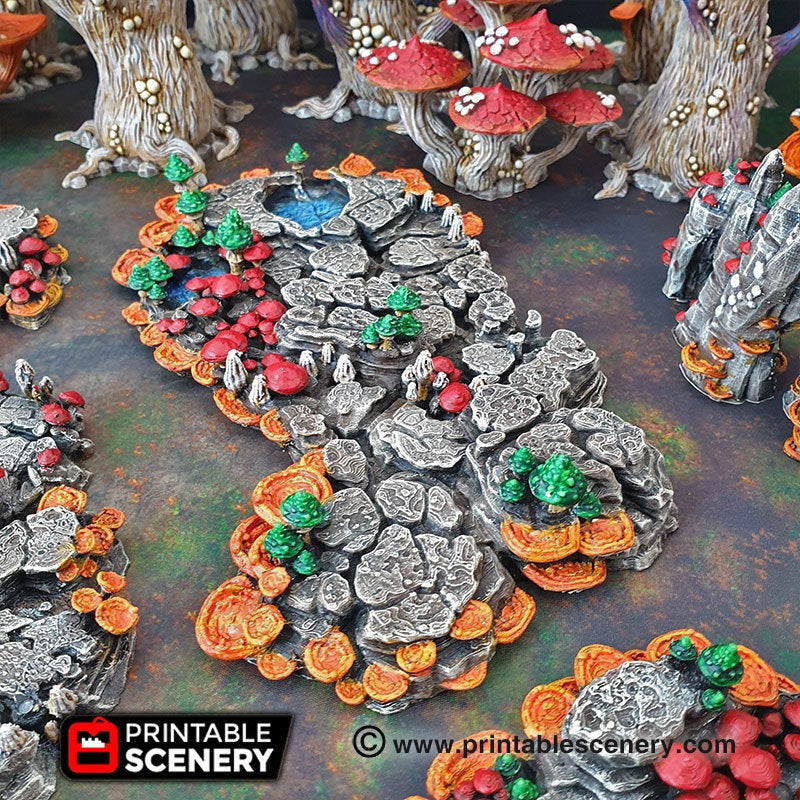Shroom Grotto Floors - 15mm 28mm Clorehaven and the Goblin Grotto Mushroom Wargaming Terrain Scatter D&D DnD Pathfinder Warhammer 40k