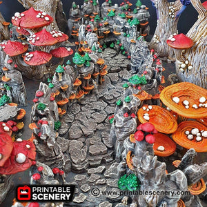 Shroom Grotto Tunnels - 15mm 28mm 32mm Clorehaven and the Goblin Grotto Mushroom Wargaming Terrain Scatter D&D DnD Pathfinder Warhammer 40k