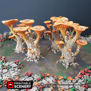 Blooming Lanterns Mushroom Tree Set - 15mm 28mm 32mm Clorehaven and Goblin Grotto Wargaming Terrain Scatter D&D DnD Pathfinder Warhammer 40k