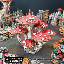 Load image into Gallery viewer, Magic Mushroom Clusters Set - 28mm 32mm Clorehaven and the Goblin Grotto Wargaming Terrain Scatter D&D DnD Pathfinder Warhammer 40k