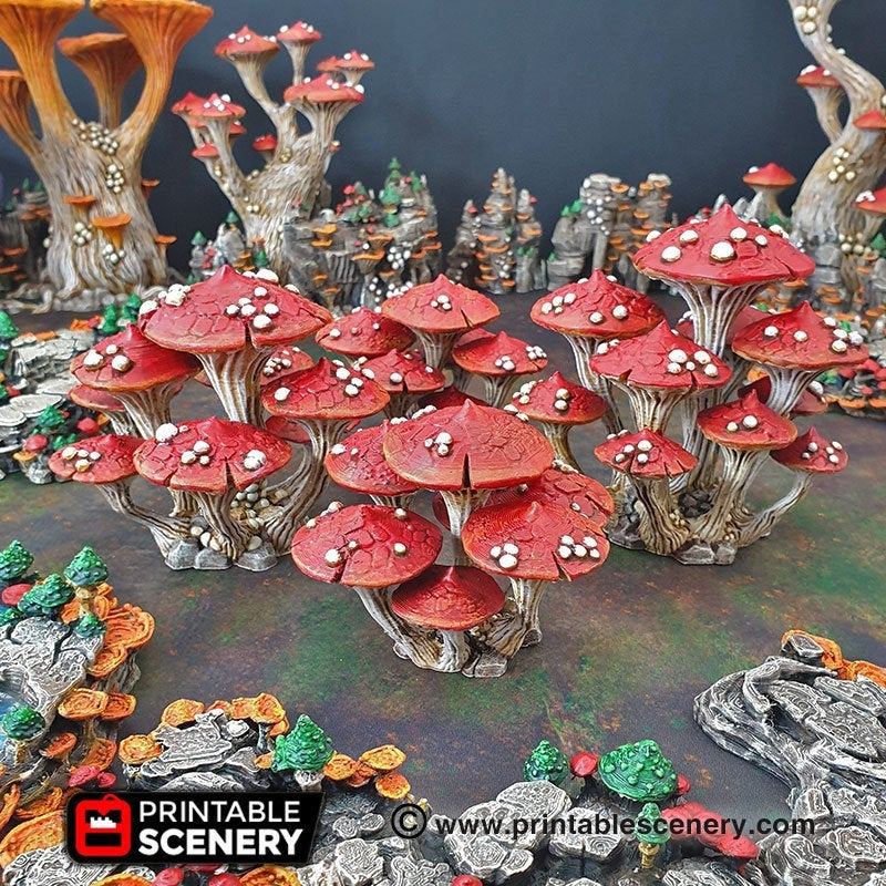 Magic Mushroom Clusters Set - 28mm 32mm Clorehaven and the Goblin Grotto Wargaming Terrain Scatter D&D DnD Pathfinder Warhammer 40k