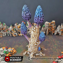 Load image into Gallery viewer, Mesmerizing Morels Mushroom Tree Set - 15mm 28mm 32mm Clorehaven Goblin Grotto Wargaming Terrain Scatter D&D DnD Pathfinder Warhammer 40k