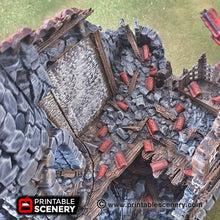 Load image into Gallery viewer, Ruined Sorcerer's Tower - 15mm 28mm 32mm Clorehaven and the Goblin Grotto Wargaming Terrain Scatter D&D, DnD, Pathfinder, Warhammer, 40k