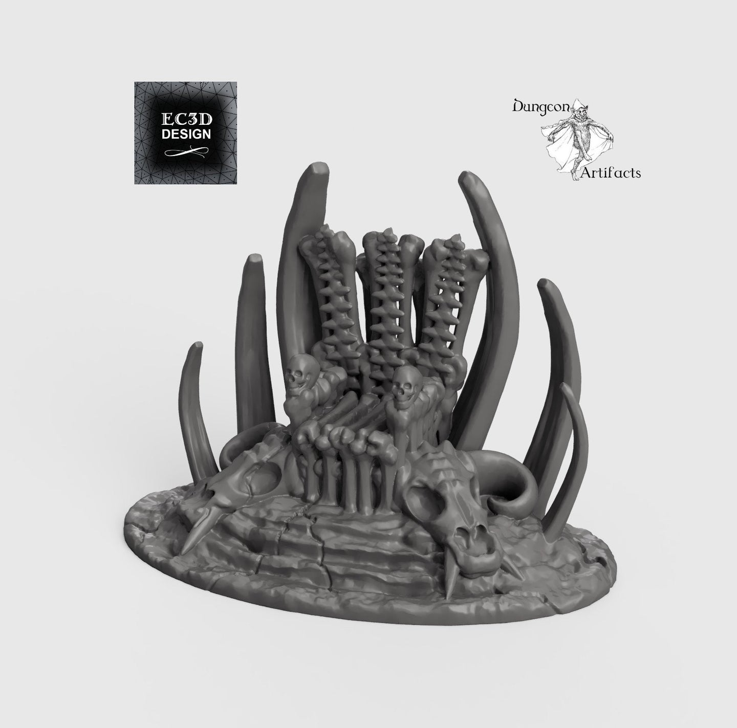 Boneyard Skull Throne - 15mm 28mm 32mm Wilds of Wintertide Wargaming Terrain D&D, DnD, Pathfinder, SW Legion, Warhammer