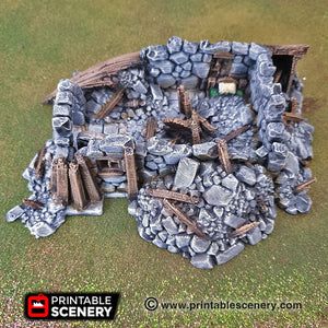 Ruined Boat House - 15mm 28mm 32mm Clorehaven and Goblin Grotto Wargaming Terrain Scatter D&D, DnD, Pathfinder, Warhammer, 40k