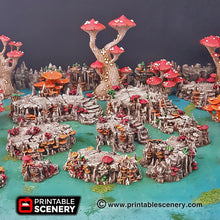 Load image into Gallery viewer, Raised Shroom Caverns - 15mm 28mm 32mm Mushrooms Clorehaven and Goblin Grotto Wargaming Terrain Scatter D&D, DnD, Pathfinder, Warhammer, 40k