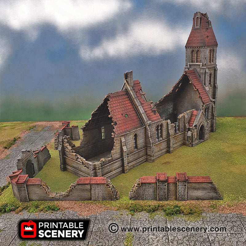 Ruined Chateau DnD 15mm 28mm 32mm Time Warp Wargaming Terrain Scatter D/&D Warhammer Pathfinder 40k