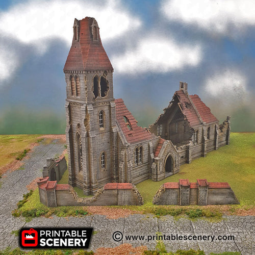 Ruined Medieval Church - 15mm 28mm 32mm 42mm Time Warp Wargaming Terrain Scatter D&D, DnD, Pathfinder, Warhammer, 40k