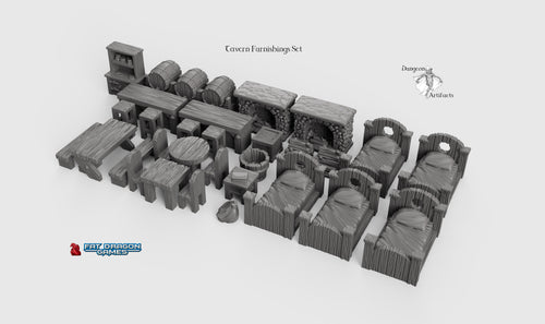 Tavern Furnishings Set - 28mm 32mm Dragonlock Ultimate Tabletop Scatter Miniatures Terrain D&D, DnD, Pathfinder, Warhammer, 40k