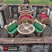 Load image into Gallery viewer, Elegant Furniture Set - 28mm 32mm Clorehaven and the Goblin Grotto Wargaming Terrain Scatter D&D, DnD, Pathfinder, Warhammer, 40k