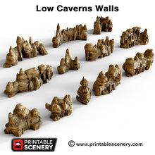 Load image into Gallery viewer, Low Grotto Walls - 15mm 28mm 32mm Clorehaven and the Goblin Grotto Mushroom Wargaming Terrain Scatter D&D DnD Pathfinder Warhammer 40k