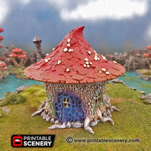 Load image into Gallery viewer, Goblin Mushroom Hovel - 15mm 28mm 32mm Clorehaven and the Goblin Grotto Wargaming Terrain Scatter D&D, DnD, Pathfinder, Warhammer, 40k