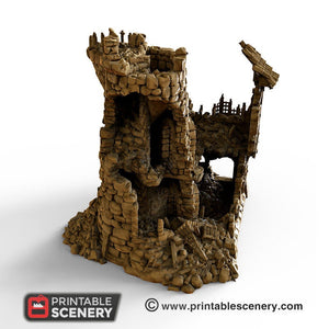 Ruined Sorcerer's Tower - 15mm 28mm 32mm Clorehaven and the Goblin Grotto Wargaming Terrain Scatter D&D, DnD, Pathfinder, Warhammer, 40k