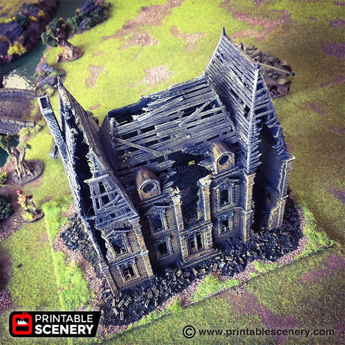 Ruined Chateau -  15mm 28mm 32mm Time Warp Wargaming Terrain Scatter D&D, DnD, Pathfinder, Warhammer, 40k
