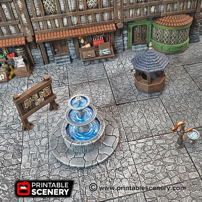 Town Square Accessories - 28mm 32mm Clorehaven and the Goblin Grotto Wargaming Terrain Scatter D&D, DnD, Pathfinder, Warhammer, 40k